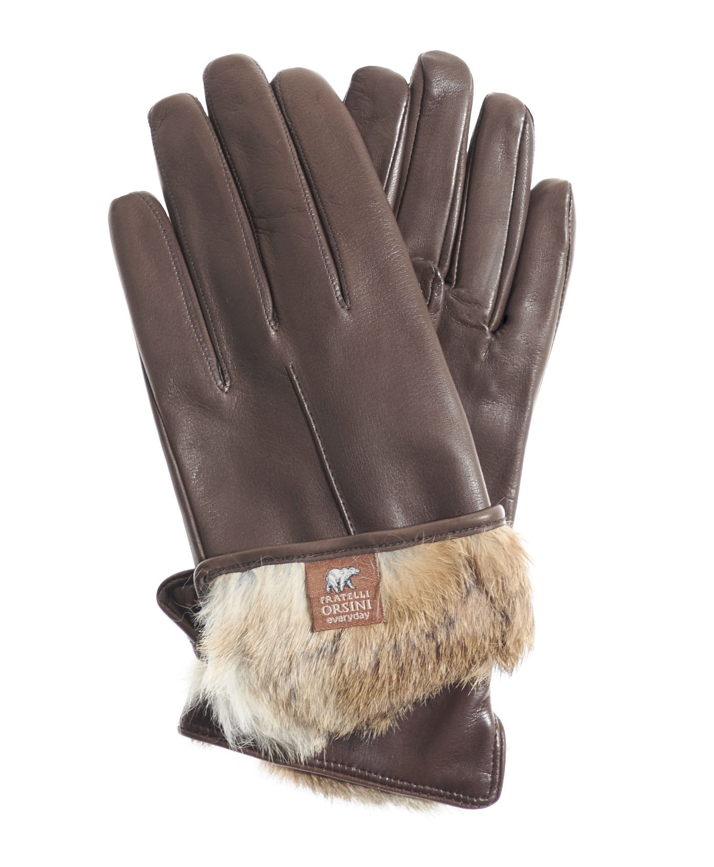 Fratelli Orsini Everyday Women's Our Bestselling Italian Rabbit Fur Gloves Size 8 1/2 Color Brown/Natural Fur