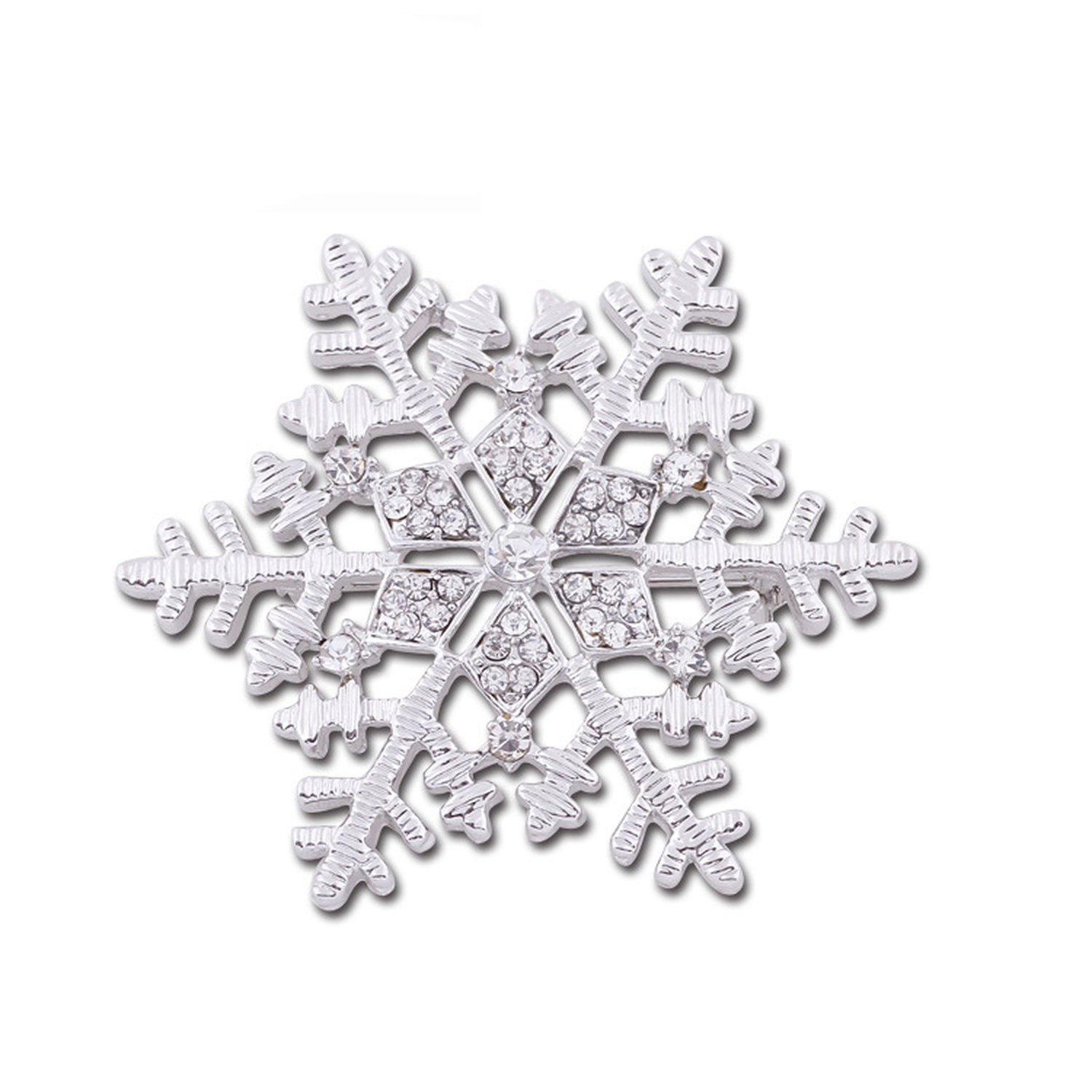 Japanese and Korean fashion accessories retro elegance exaggerated large diamond snowflake female brooch corsage annual meeting accessories,Silver