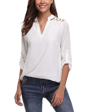4f56e4c3126ce Chemisier femme manches longues Tunique Femme chic Blouse Épaule Dénudée  Top casual - Blanc Épaule Dénudée
