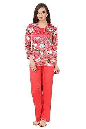 plus récent 2f4b5 0f569 Fasense Women Satin Nightwear Nightsuit Top & Pyjama Set ...
