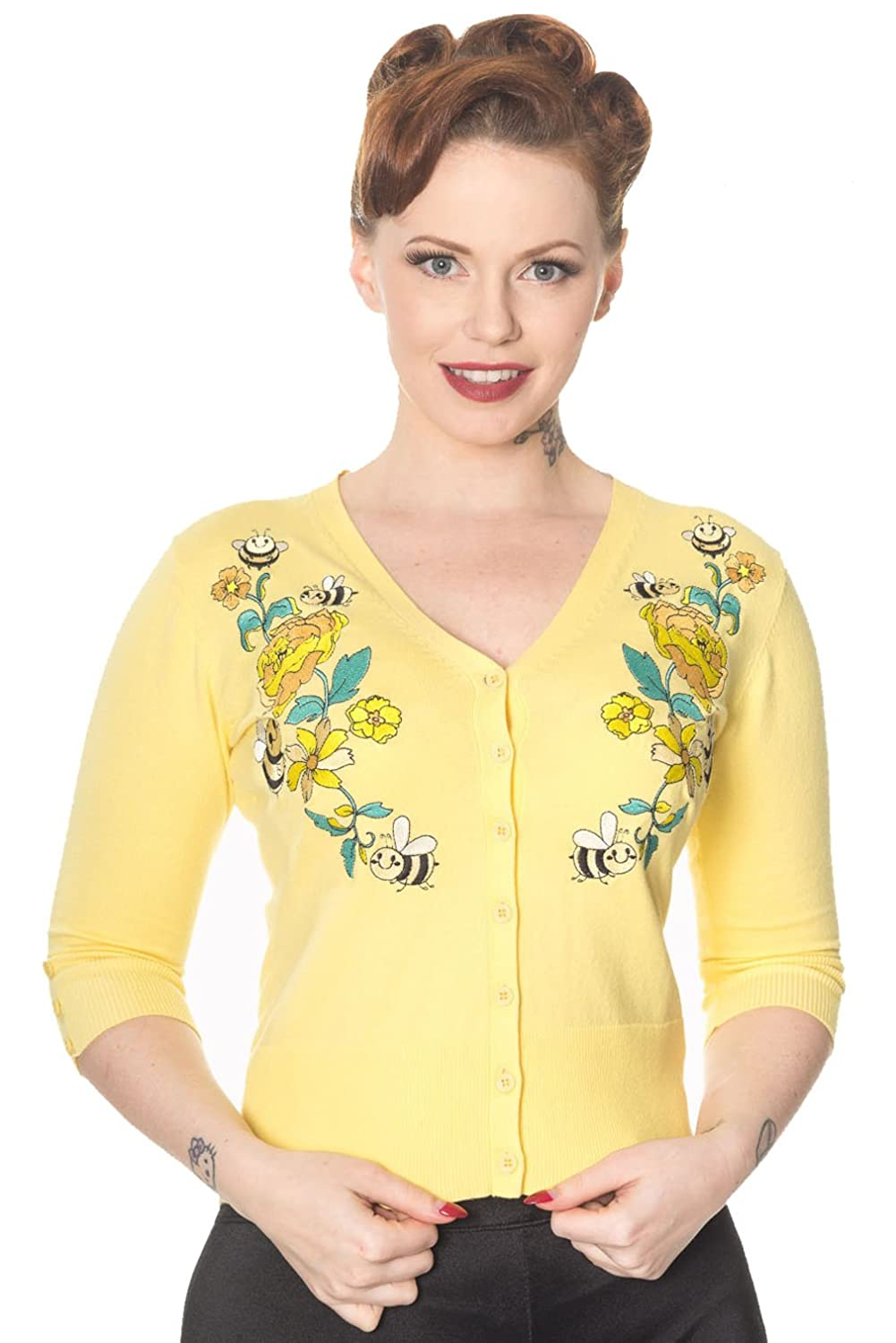 1950s Sweaters, 50s Cardigans, Twin Sweater Sets Banned - BUMBLE BEE FLOWER - Embroidered Cardigan $39.22 AT vintagedancer.com