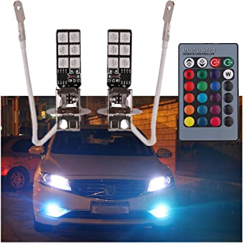 Pair Auto LED Fog Lights Bulbs 5050 12SMD H1 RGB /& Wireless Remote Control
