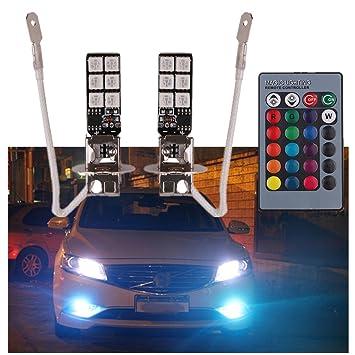 Amazon.com: FEZZ Auto LED Fog Lights Bulbs 5050 12SMD H3 RGB with ...