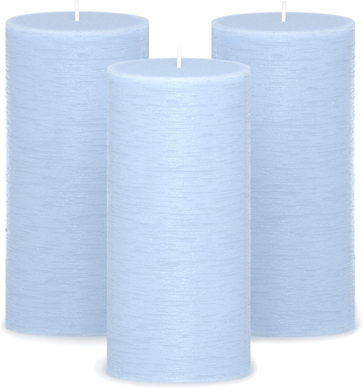 CANDWAX 3x6 Pillar Candles Set of 3 - Decorative Candles Unscented and No Drip Candles - Ideal as Wedding Candles or Large Candles for Home Interior - Light Blue Candles