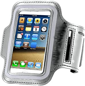 """Water-Resistant Cellphone Armband for iPhone 8/7/6S/6/5S/5C,CaseHQ case Running Sports Armband for iPhone, Samsung, Huawei, Moto, Google and Devices up to 5.2 Inch - (Fits Arm Girth 9""""-15"""") -Silver"""