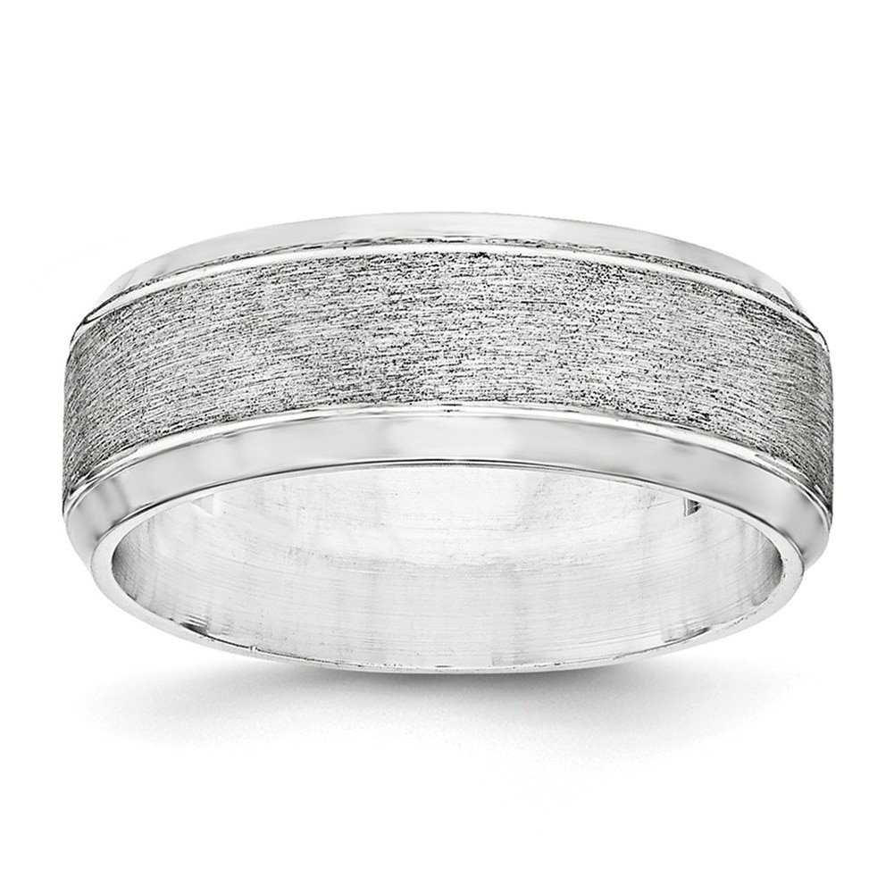 Lex /& Lu Sterling Silver 8mm Brushed Fancy Band Ring LAL125565