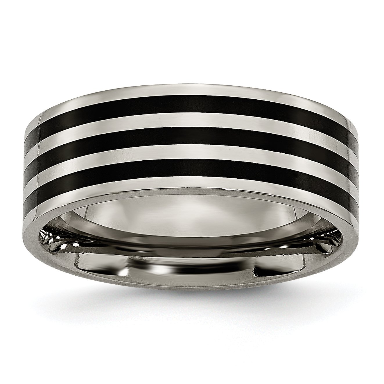 Jewelry Pot Titanium Grooved 8mm Black-Plated Stripes Polished Engravable Band