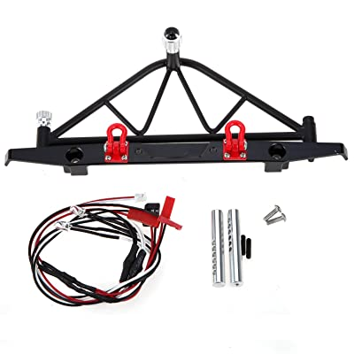 LAFEINA 1/10 RC Crawler Metal Rear Bumper with Spare Tire Carrier and LED Tail Lights for Axial SCX10: Toys & Games