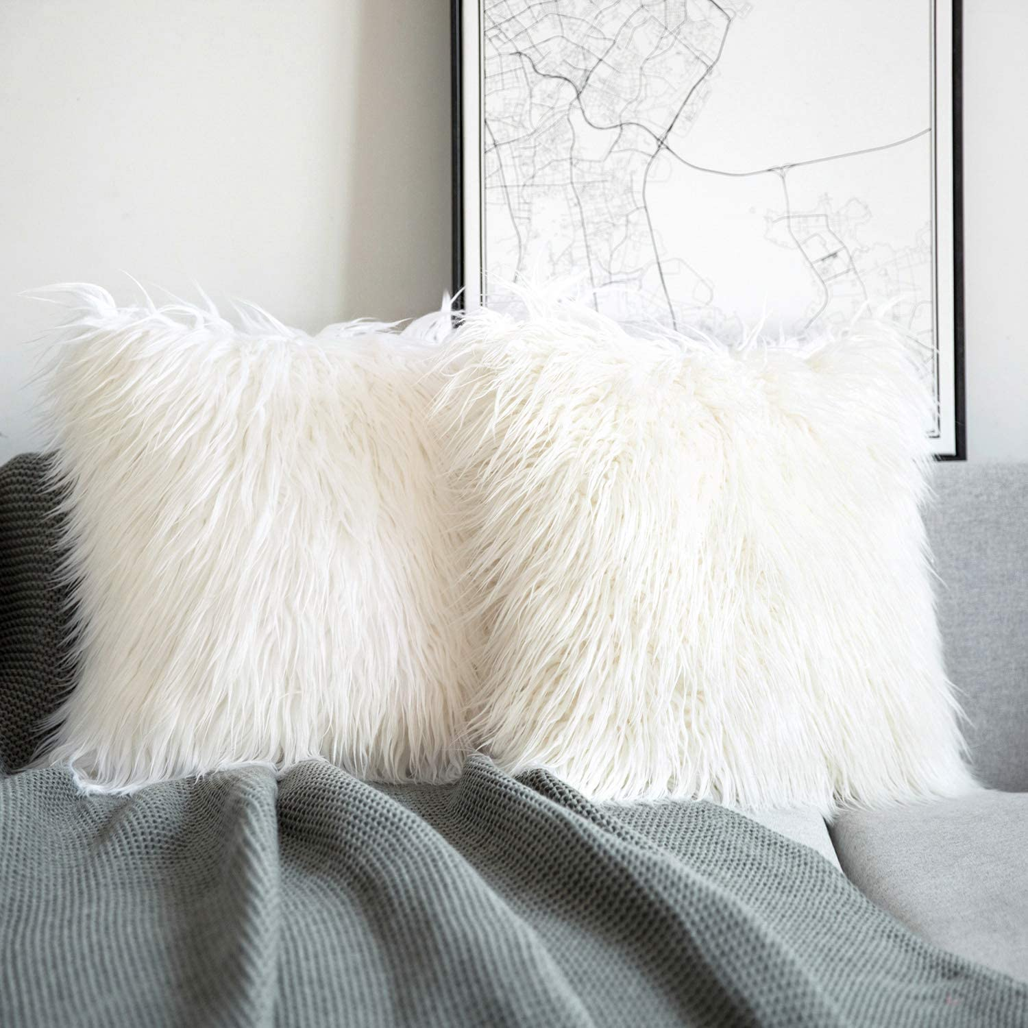 Phantoscope Pack of 2 Faux Fur Pillow Covers Throw Pillows Cases, Luxury Series Plush Cushion Case Mongolian Style, Off White 20 x 20 inches 50 x 50 cm