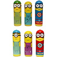 Perpetual Bliss Kids Fashion Laxmi Collection Mix Design Minions Shape Plastic Box with Sketch Colours Set (Multicolour) - Pack of 12