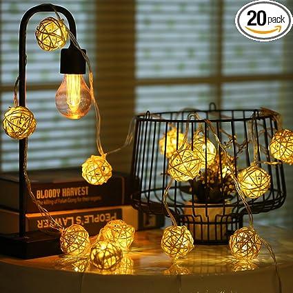 hopet globe rattan ball string lights 20 led usb powered starry fairy strand lights for