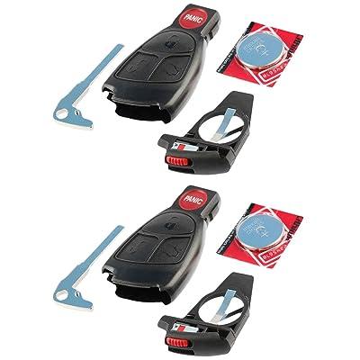 Key Fob Keyless Entry Remote Shell Case & Pad fits Mercedes C Class, CLK, CLS, E Class, G Class, Slk Class, AMG, Set of 2: Automotive