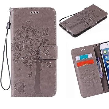 Jonmao Funda Xiaomi Redmi Note 3 / Note 3 Pro, Gris Billetera Cuero Caso Magnético Clamshell Real Cuero Tarjeta Soporte Carcasa para Xiaomi Redmi Note ...