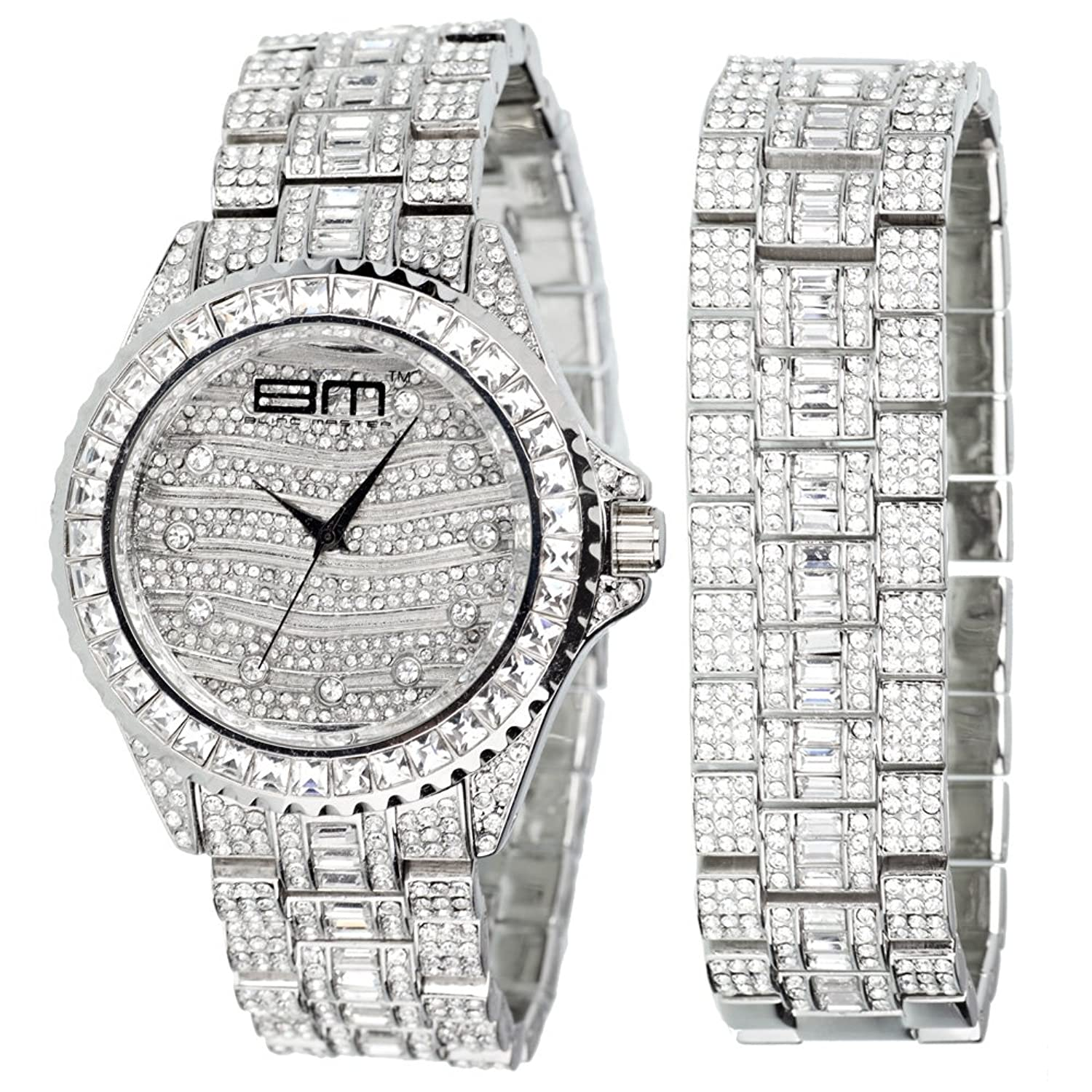 High Quality MONARCH FULL ICED Uhr + Armband silber