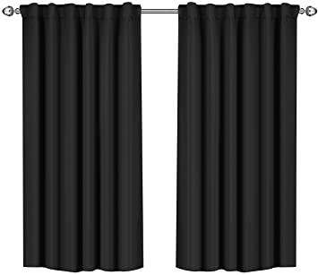 Utopia Bedding Blackout Room Darkening And Thermal Insulating Window Curtains/Panels/Drapes   2 Panels Set   7 Back Loops Per Panel   2 Tie Backs Included (Black, 52 X 63) by Utopia Bedding