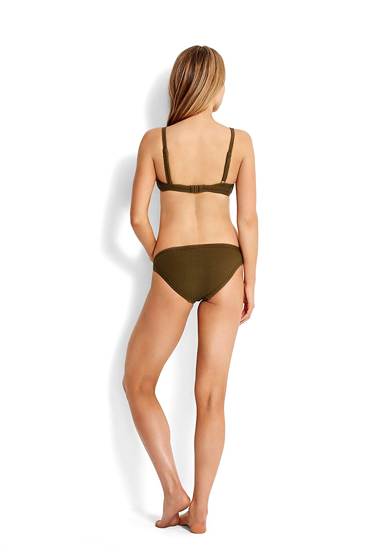 40af83659e Seafolly Womens Inka Rib Lace Up Bralette Bikini Top Swimsuit Seafolly  Women   s Inka Rib Lace ...