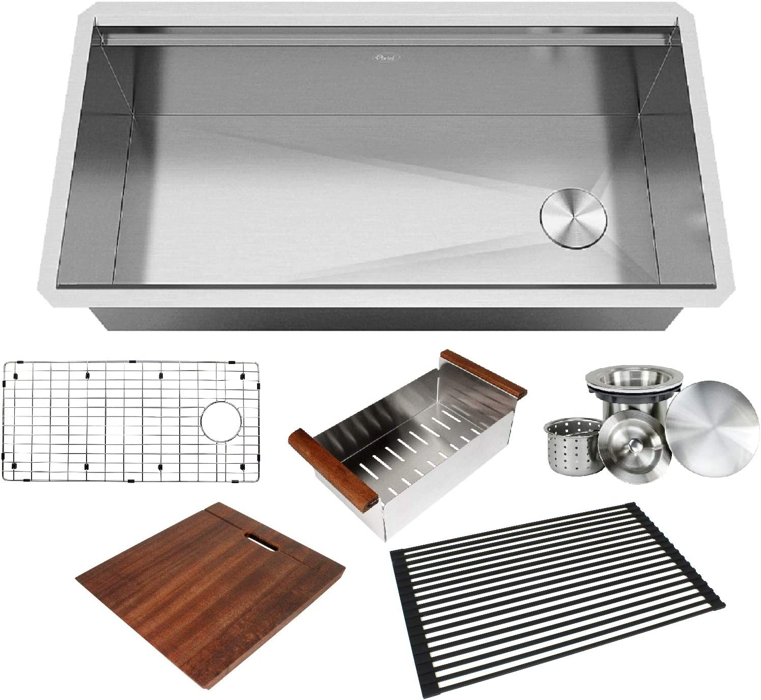 KINGSMAN ALL-IN-ONE Workstation 36 in. 16-Gauge Undermount Single Bowl Stainless Steel Kitchen Sink w/Build-in Ledge and Accessories (Brushed Stainless Steel)