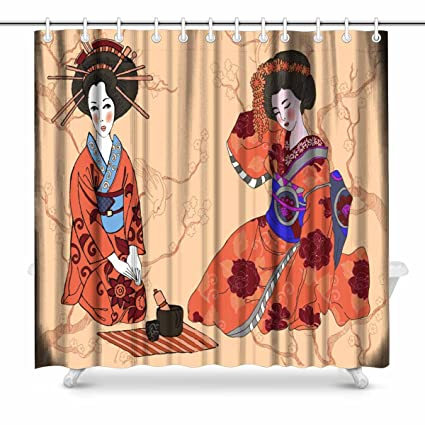 InterestPrint Geisha Japanese Woman Bathroom Decor Shower Curtain Set With Hooks 72 Inches Extra Long