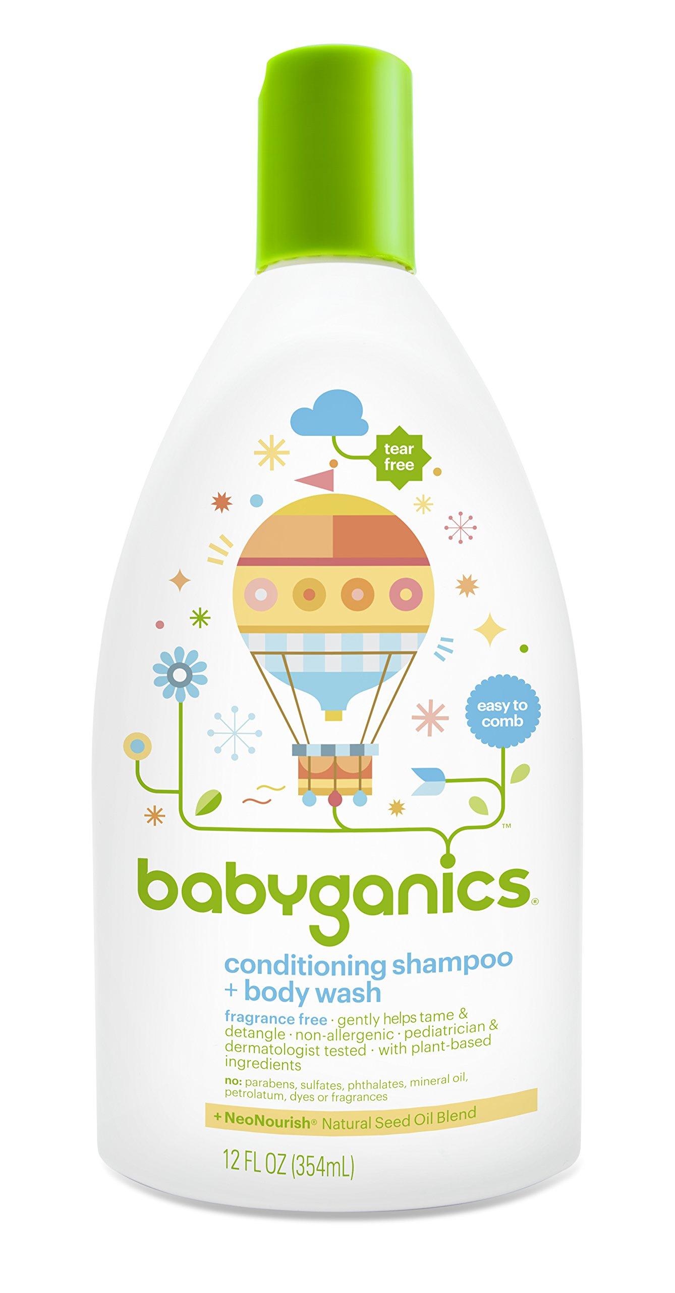 Babyganics Conditioning Fragrance Free Baby Shampoo and Bodywash, 3 Count by Babyganics