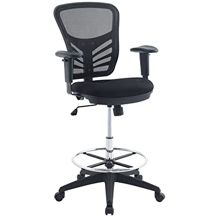 Amazon Com Modway Articulate Drafting Chair In Black Reception