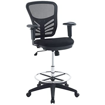 Superior Modway Articulate Drafting Chair In Black   Reception Desk Chair   Tall  Office Chair For Adjustable