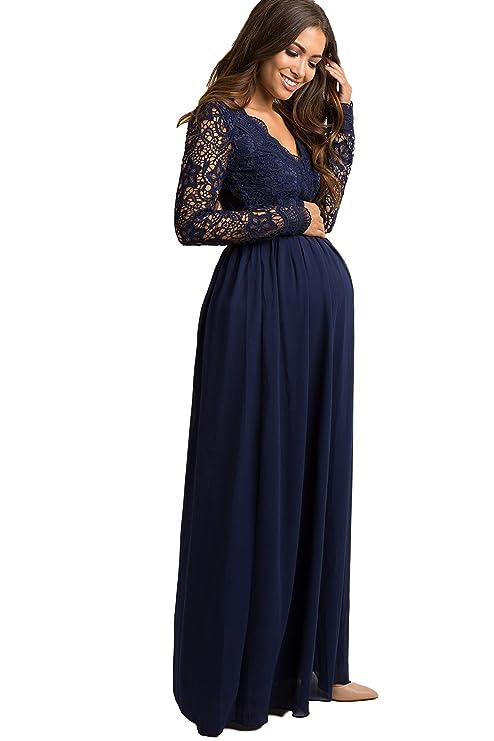 5d15b4939f28f PinkBlush Maternity Scalloped Crochet Chiffon Evening Gown at Amazon  Women's Clothing store:
