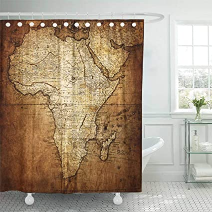 Emvency Waterproof Fabric Shower Curtain Hooks Old Vintage Map Africa Antique Ancient World Antiquity Burnt 72quot