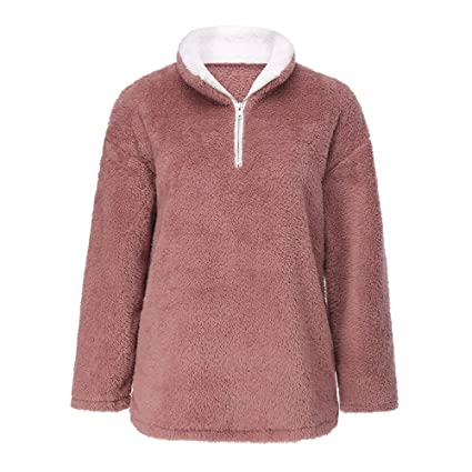 Gift Ideas! Teresamoon Women Warm Fluffy Winter Solid Casual Zip Up Sweatshirt Pullovers Outwear