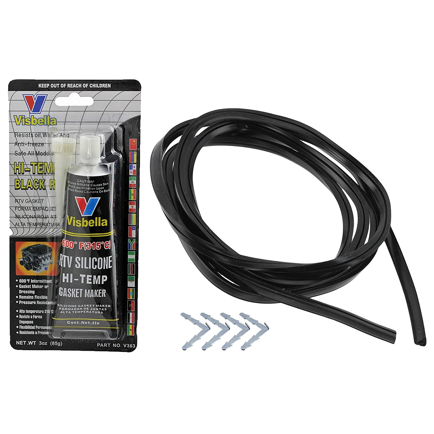 Spares2go 2.4m 4 Sided 90º Door Seal and Glue Sealant For Hotpoint Oven Cookers