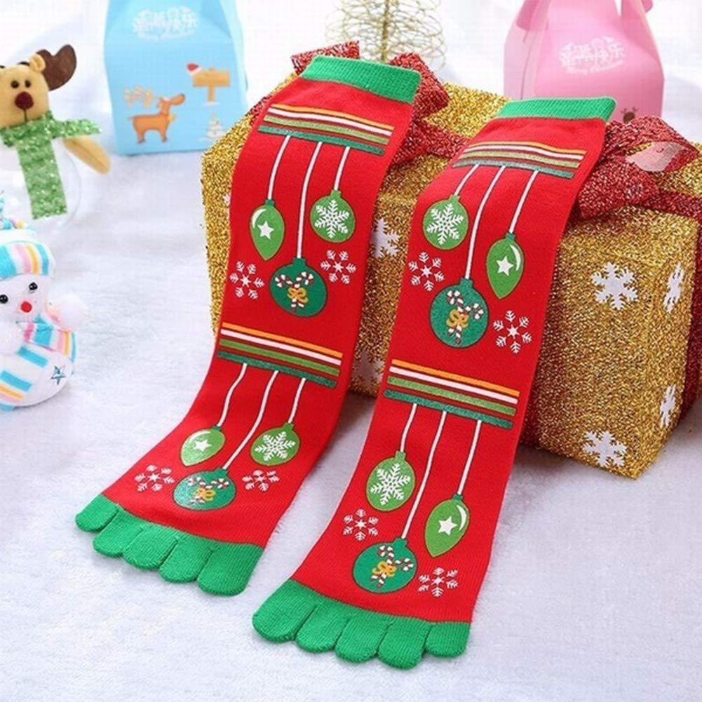 wAddhFC Weihnachten Santa Zehensocken Erwachsene Damen Herren Unisex Socken atmungsaktiv Bedruckt Fantasie Socken Winter