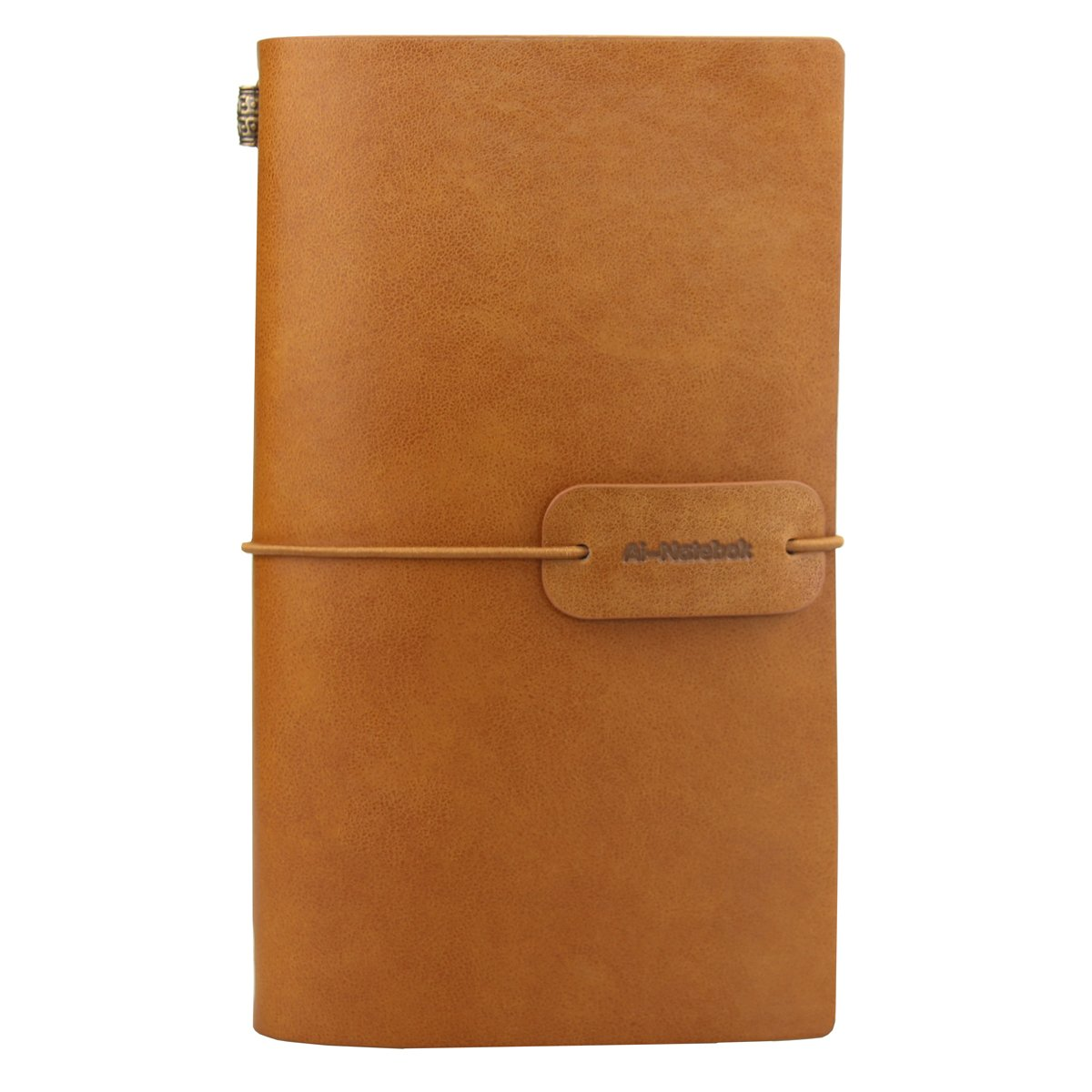 Refillable Travelers Notebook - Small Classic Writing Journal - Vintage Handmade Leather Note Book for Men and Women 4.72 X 7.87 inch from ai-natebok (Light Brown)