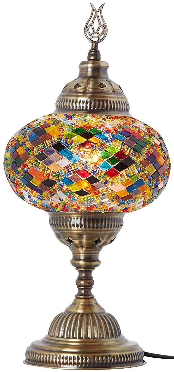 New* BOSPHORUS Stunning Handmade Turkish Moroccan Mosaic Glass Table Desk Bedside Lamp Light with Bronze Base (Multi-colored)
