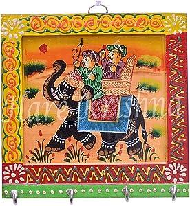 Hare Krishna Home Decorative Handmade Hand Painted Square Shape 4 Key Hook Key Holder 6 x 6 Inches