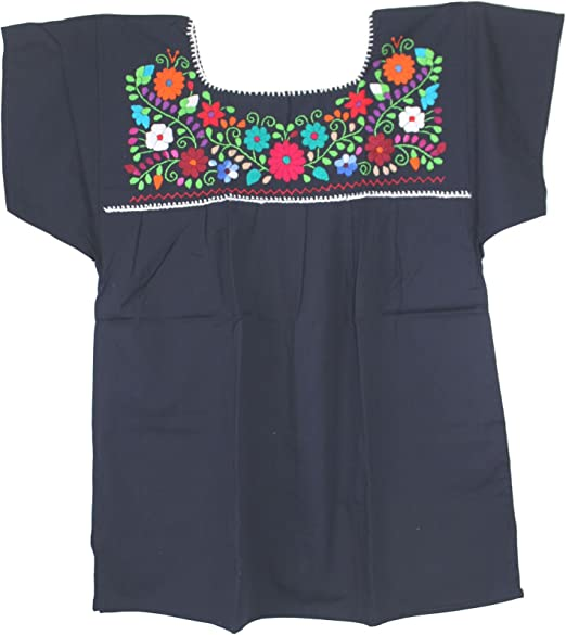 Amazon.com: Liliana Cruz Embroidered Mexican Peasant Blouse ...