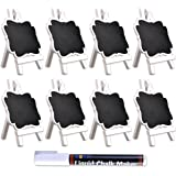 UCEC Mini Chalkboards with White Wooden Easel,Suit for Marker & Chalk,Perfect for Wedding Party and Daily Home Decoration-Pack of 8