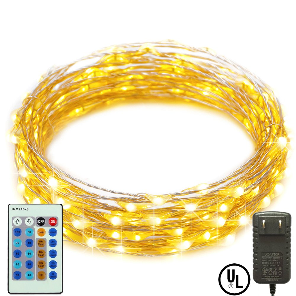 RcStarry(TM){120LED 40Ft}Dimmable String Lights,120 LED Starry String Lights on 40Ft Silver Wire + Power Adapter with Multi-Function Remote Controller for Christmas, Weddings, Parties(Warm White)