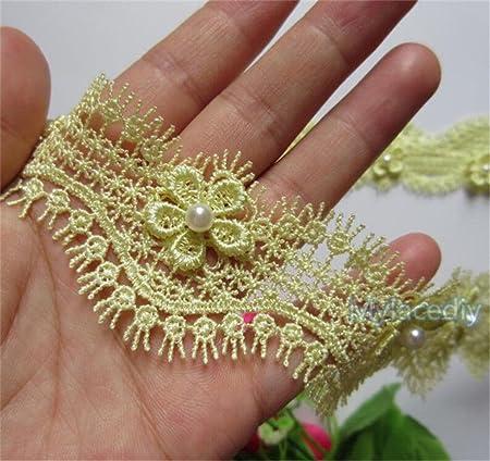 1 Meter Flower Pearl Eyelash Lace Edge Polyester Trim Ribbon 4 cm Width  Vintage Style Yellow 6f534a9b5