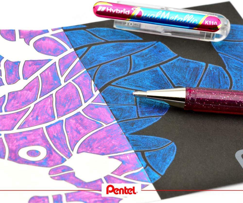 Pentel 23-k110/Dual Hybrid Dual Metallic Gel Roller 2/Efectos de varios colores en clara//Papel oscura color orange//met gelb 0,5mm 1/pieza purpurina Gel