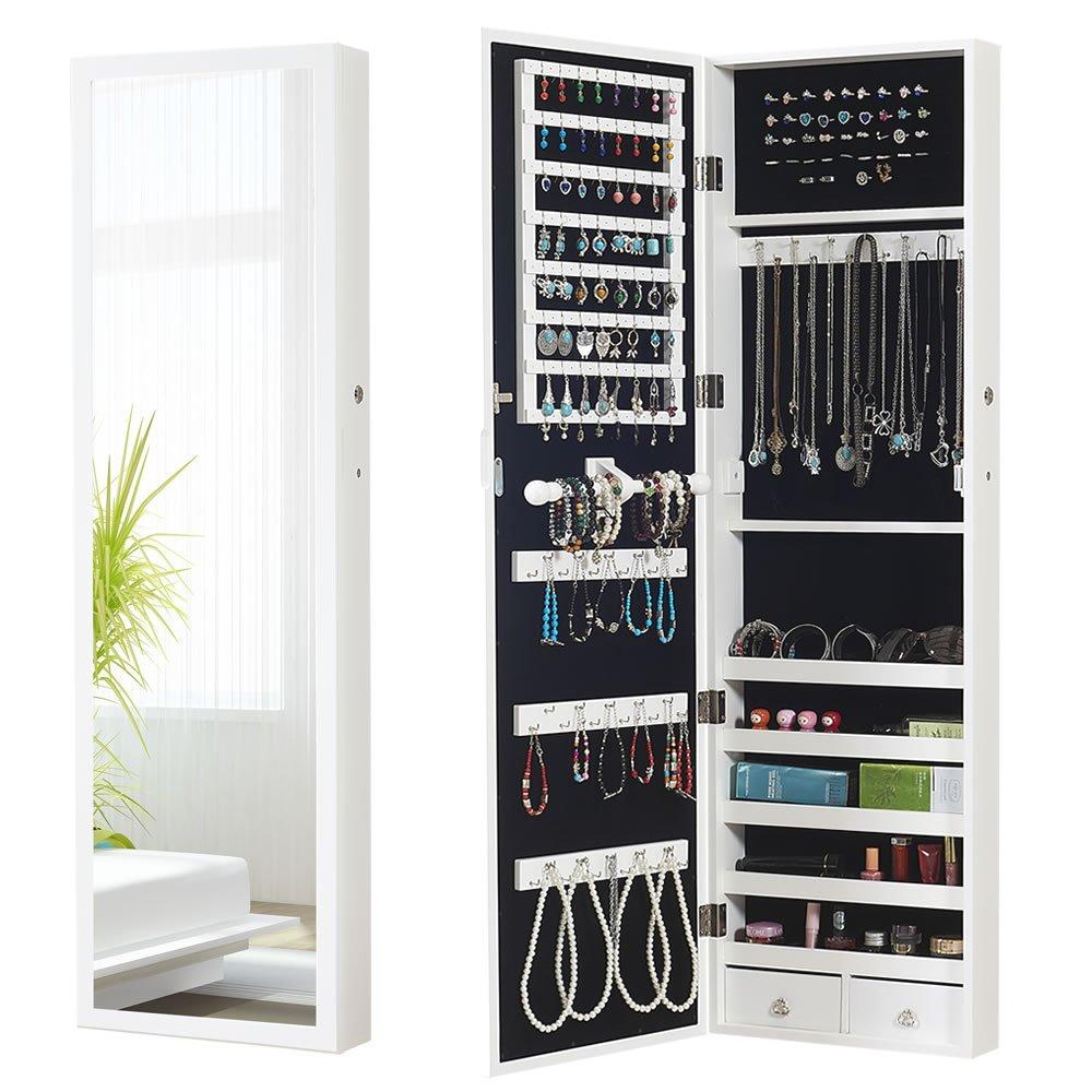 Jewelry Cabinet Armoire Storage Organizer Locking Standing/WallMount Mirror, White