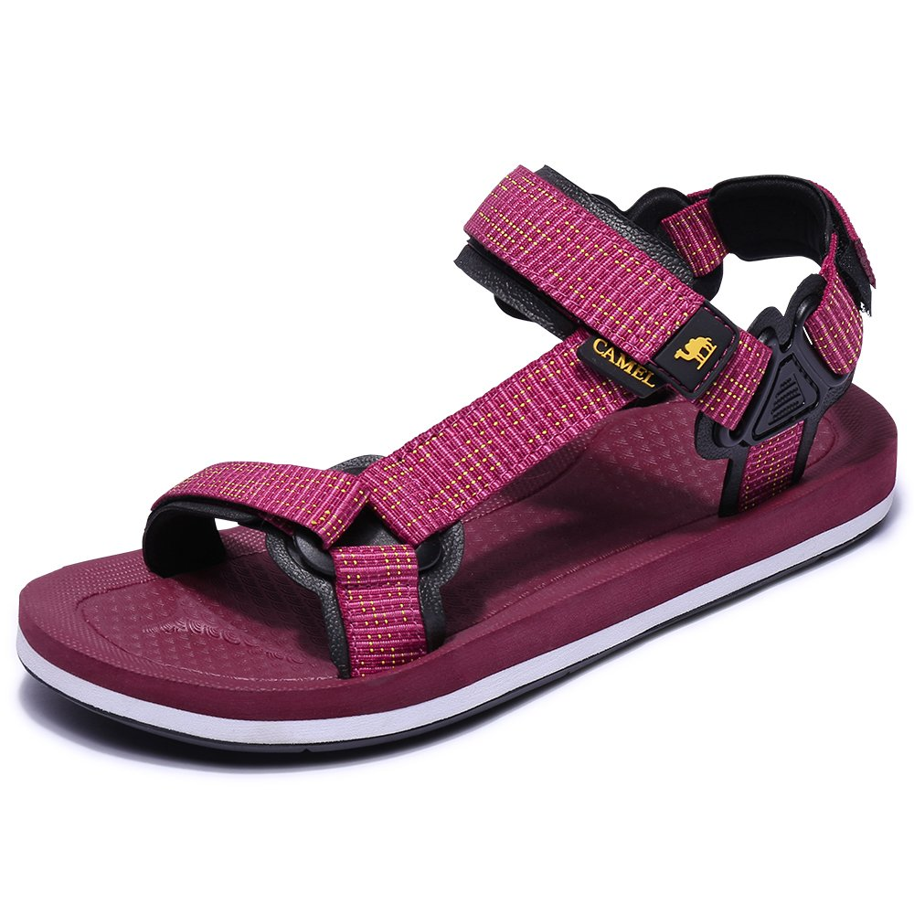 Camel Womens Athletic Sandals Comfortable Water Sandals Anti-skidding Outdoor Sport Sandals Lightweight Flat Sandals Red 37