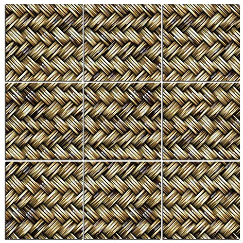 (Canvas Painting Wall Art Decor Abstract 9 Panels Modern Zen Canvas Painting Prints Giclee Art for Home Office and Kitchen Framed Ready to Hang,Rattan Basket Weave Pattern Natural Boho Country Style Ge)