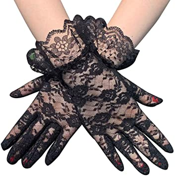 Asooll 1920s Black Lace Long Satin Gloves Opera Stretchy Costume Halloween Gloves Fashion Prom Cosplay Party Rave Elbow Gloves for Women and Girls