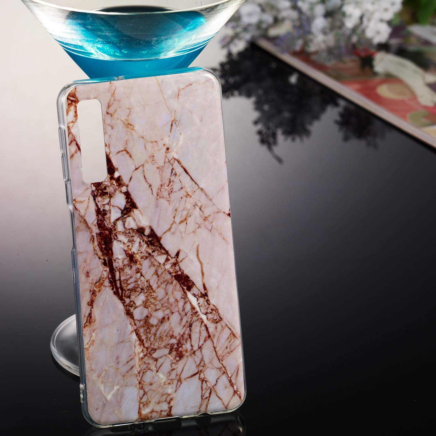 for Samsung Galaxy A7 2018 (A750) Marble Case with Screen Protector,Unique Pattern Design Skin Ultra Thin Slim Fit Soft Gel Silicone Case,QFFUN Shockproof Anti-Scratch Protective Back Cover - White by QFFUN (Image #5)