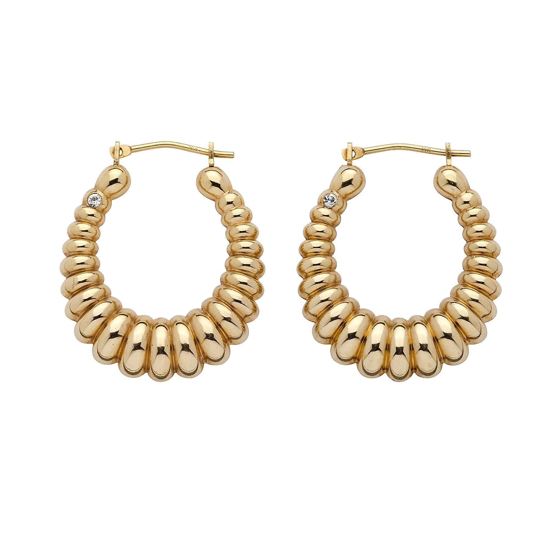 14K Yellow Gold Shrimp Style Nano Diamond Resin Filled Hoop Earrings (24.5mm)
