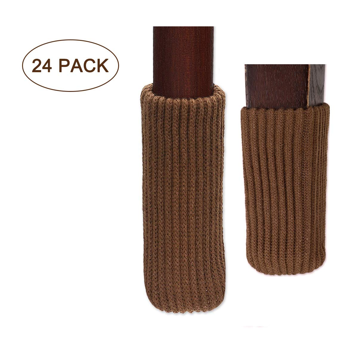 """LimBridge 24pcs Chair Socks, Elastic Wood Floor Furniture Chair Leg Feet Protectors Covers Caps Set, Fit Girth from 4"""" to 7"""", Vertical Knitted Brown"""