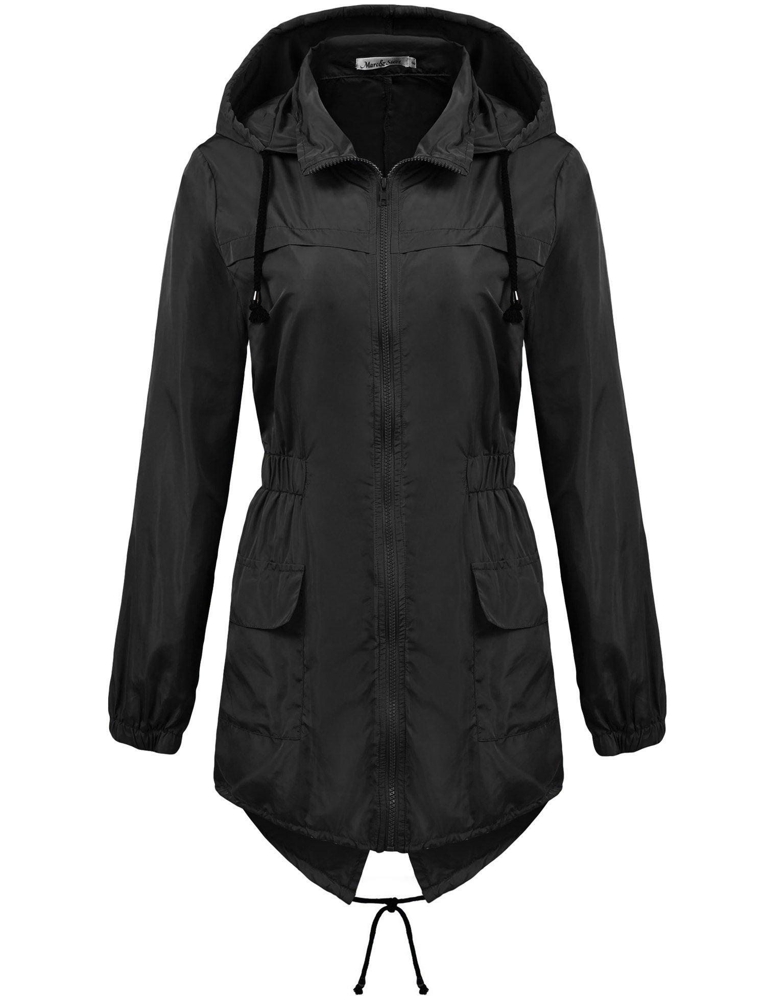 Macr&Steve Womens Lightweight Hooded Waterproof Active Outdoor Rain Jacket,Black,X-Large