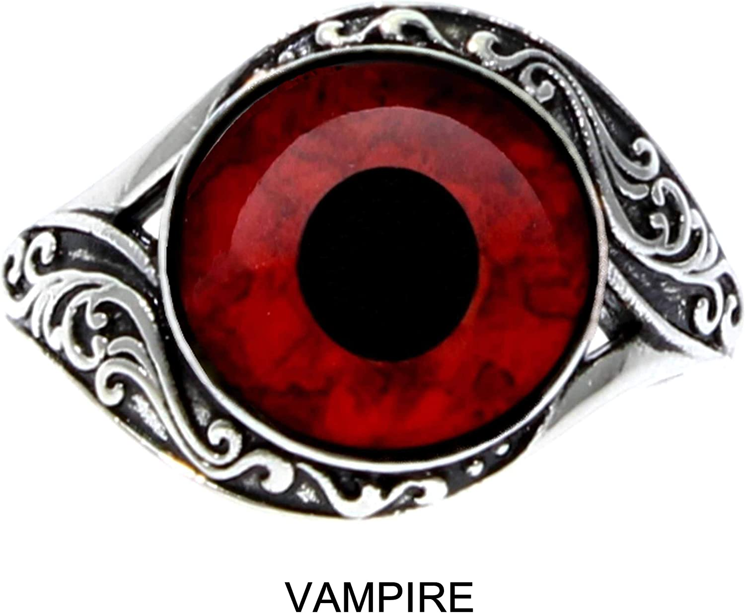 Steel Dragon Jewelers Stunning Designer Eye Ring Choose from 21 Handcrafted Animal and Fantasy Glass Eyes