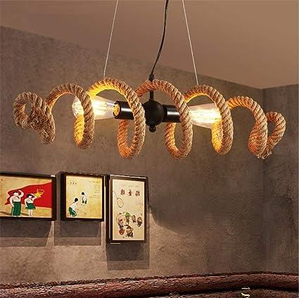 PLLP Iluminación Interior Araña Lámparas Vintage Industrial Colgante Luz De Techo Steampunk Retro Loft Creative Cáñamo