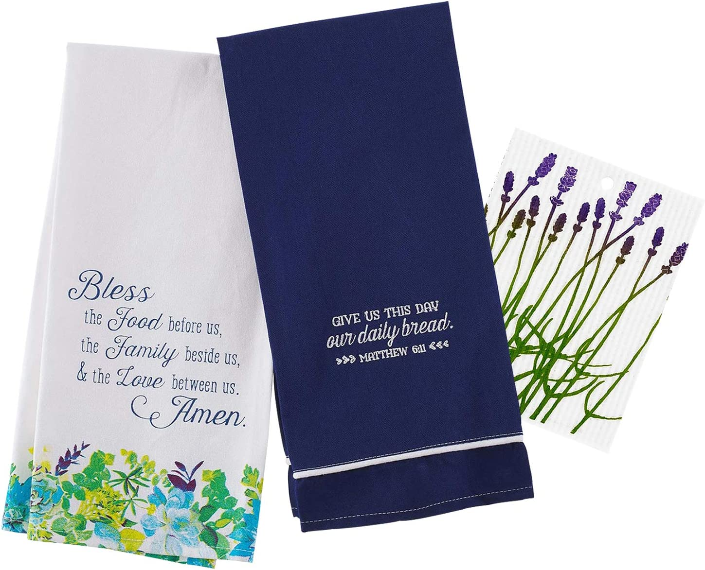 Inspirational Kitchen Dish Towels with Quotes | Bless The Food, Our Daily Bread Sayings Theme | Decorative Cotton Tea Towel Set for Dishes and Hand Drying | Includes Swedish Dishcloth, Total 3 Items