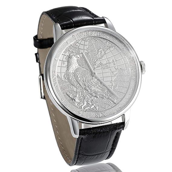 825420e92303 CHIYODA Reloj de Platino con Proceso de Tallado de Mapas y Patrones de  águila
